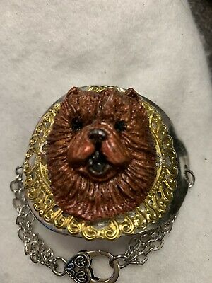 One of a Kind Victorian Dark Red Chow Head On Ornate Petite Spoon Bracelet