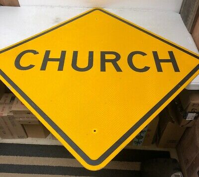 "Authentic Retired Texas ""Church"" Highway Street Sign Man Cave Garage Decor"