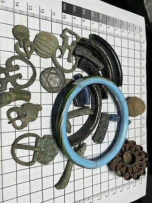 lot of Bronze Glas and Stone Artefacts Roman And Late  Period Buckles Fragments