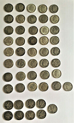 Full Roll of 50 90% Silver Dimes 41 Roosevelt 9 Mercury Mixed Dates & Condition