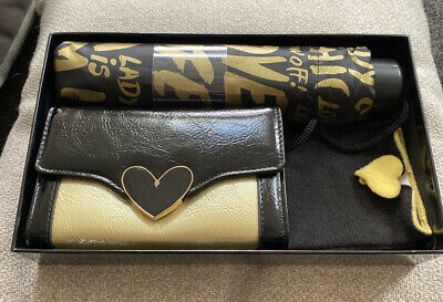 Ladies Morgan Gift Set With Umbrella, Gloves And Purse In Gold/Yellow and Black