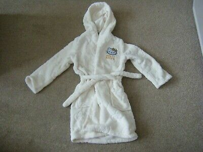 Girls Cream Hello Kitty Hooded Dressing Gown Age 5-6 Years From Marks and Spence