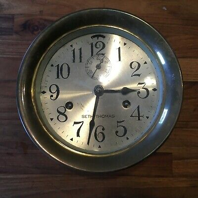 "Antique 6"" Seth Thomas Ship's Clock Maritime USA Brass Case"