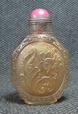 Chinese Delicate Carve Entwined Lotus Glass Snuff Bottle-