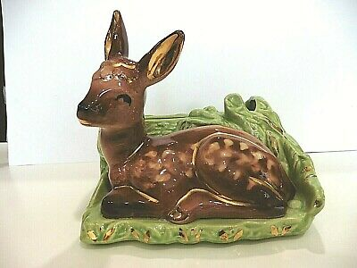 SHAWNEE GOLD-TRIM FAWN AND LOG Planter- USA  # 766 - Large and Perfect!