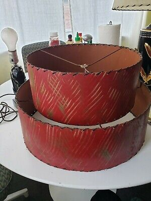 Vintage Two Tier Lamp Shade 1950s mid century modern red, with gold and white
