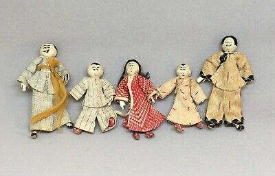 Family of Five Antique Vintage Japanese Dolls Cloth Faces Folk Art Rustic