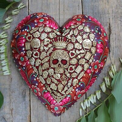 Large Floral Heart Day of the Dead & Milagros Miracle Mexican Folk Art Michoacán