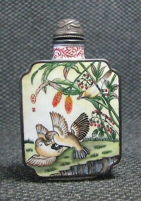 Chinese Copper Delicate Hand Painted Sparrow Snuff Bottle--