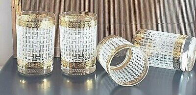 Frosted Basket Weave Design Double Gold Band Old Fashion Rocks Glasses Lot of 4