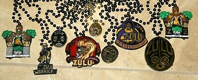 Lot 9 Different New Orleans ZULU Warrior Mardi Gras Necklaces Beads Medallions