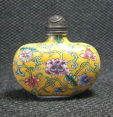 Chinese Copper Delicate Hand Painted Entwined lotus Snuff Bottle--