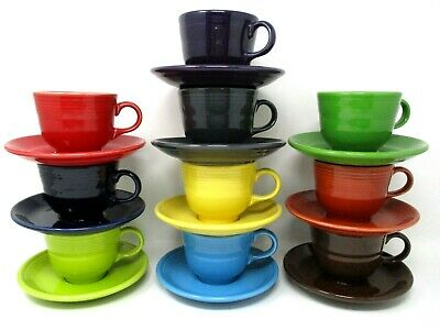 Fiesta Ware Cup and Saucer Lot of 10 Sets Mixed Colors
