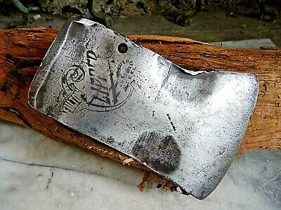 "Vintage EMBOSSED AXE ""FULTON CLIPPER SILVER CRUCIBLE STEEL"" Single Bit Axe"
