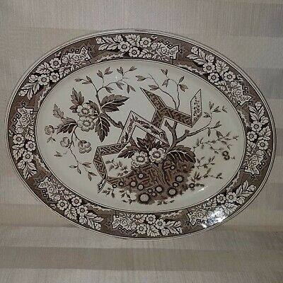 """Antique c1880s Aesthetic Beatrice Brown Wedgwood 15"""" Oval Serving Platter"""