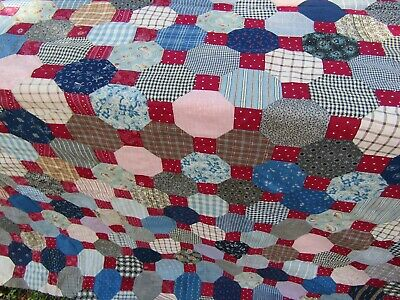 Quilt Topper Snowball Patton 87''x77'' Vintage hand sewn a Quilt to be cherished