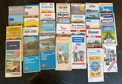 Old Vintage Gas  Service Station Road & Street Maps Various City & State Lot 27