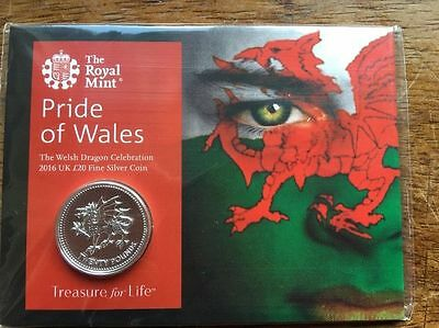 Pride Of Wales 2016 Welsh Dragon - UK £20 Fine Silver Coin Royal Mint - sealed
