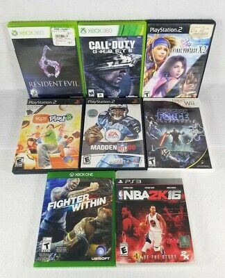 Various Video Game Lot Of 8 - Wii, Xbox One, Xbox 360, PS2, PS3 - Free Shipping!