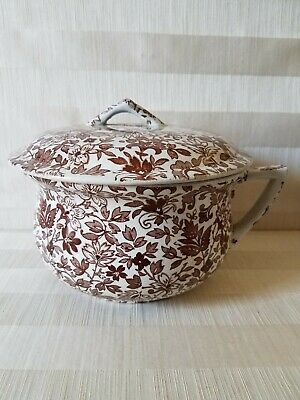 Vintage Brown Transferware Chamber Pot w/ Lid in Excellent Condition
