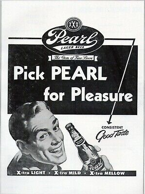 Vintage Pearl Lager Beer Magazine Print Ad 1954 Texas 9 x 12