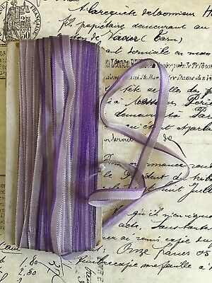 4 Yards  ANTIQUE VINTAGE French Ombre PURPLE Ribbon Trim 1//4/""