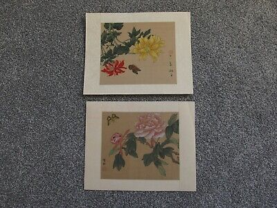 pair of vintage antique silk paintings Chinese signed