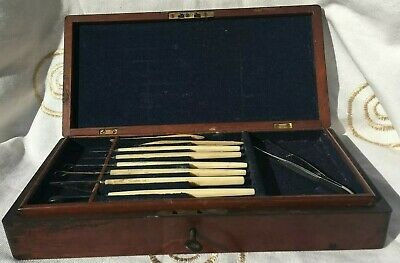 Antique Medical Instruments In Mahogany Box made by Maw London