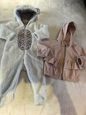 2 X Baby Coats Size 6-9 Months. All In One And Light Summer Coat Baby Girls