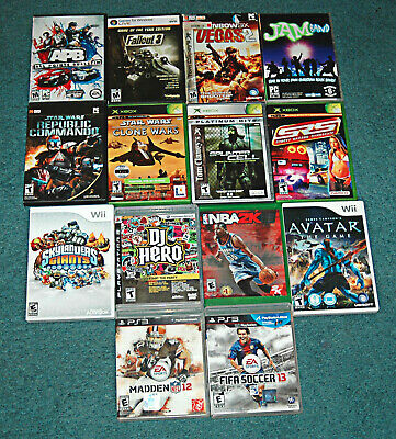 Video Games 14 Assorted PS3 Wii XBOX ONE PC CD-ROM Xbox Discs and Cases