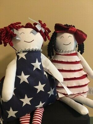 Woof & Poof Stars and Stripe Bean Bag Girls! Set 2 Great for 4th of July!