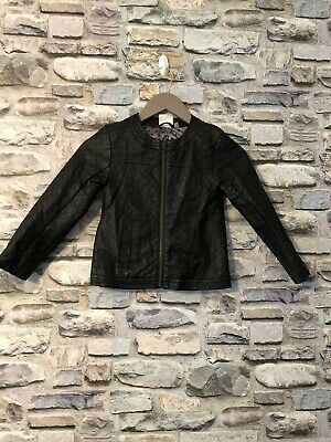 Girls John Lewis Black Leather Look Jacket Age 7 Years