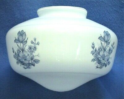 Vintage White Opal Glass Blue Flower School House Style Shade