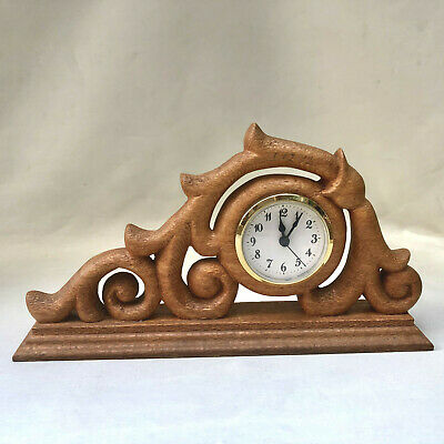 Vintage Canadian Ornate Hand Carved Wood Clock, Collectable Woodenware Mantel