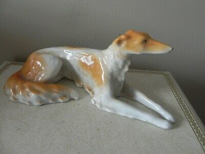 """Russian wolf hound dog figurine made in Germany 6 1/2"""" x 2 3/4"""" laying down"""