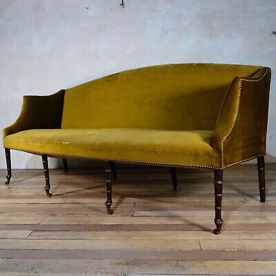 A Large Antique George III Settee - Sofa Faux Bamboo Yellow Georgian Upholstered