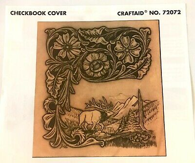 Tandy Leather Factory Craftaid Checkbook Cover Pattern Stencil Mountains Elk