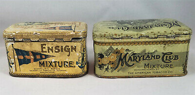 2 for 1 Vintage ENSIGN MIXTURE & MARYLAND CLUB Tin Litho Tobacco Tins