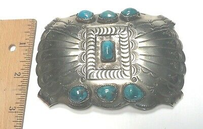 Large Turquoise Silver Vintage Indian Style Buckle -  NO RESERVE - FREE Shipping
