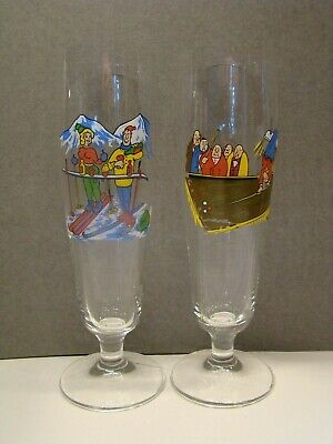 Painted comic beer glasses Footed & stemmed Skiing Couple & Pool player Germany