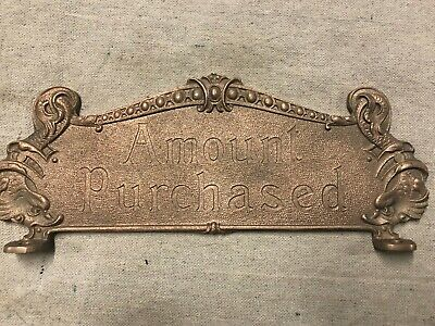National Brass Cash Register Red Brass 313 Tarnished Reproduction Top Sign