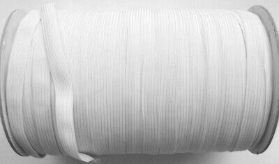 Flat Braided Elastic-Sewing/Craft/Masks -4/6/8/10/12/16 Cord-White 5/10 Metres