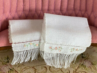 Vintage Mini Dollhouse Artisan Pair OOAK French Embroidered Linen Bath Towels