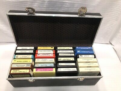 Box Of 24 8 Track Tapes Including Carrying Case
