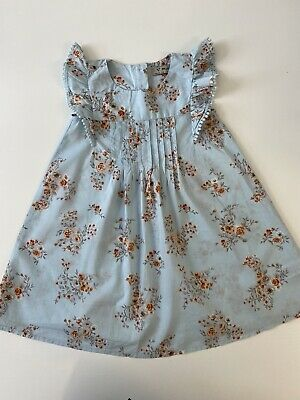 Girls NEXT Baby Blue Floral Dress. 2-3 Years
