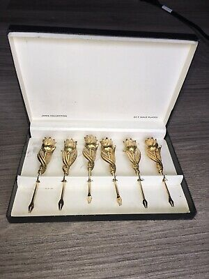 Vintage Janis Collection Set Of 6 Pc Set 24K Gold Plated Small Forks With Box