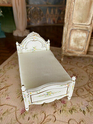 Vintage Miniature Dollhouse JBM Tiny Ivory Hand Painted Child's Bed Floral
