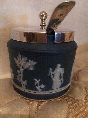 antique wedgwood jasperware Dark Blue Condiment Jar With Silver Plate Lid