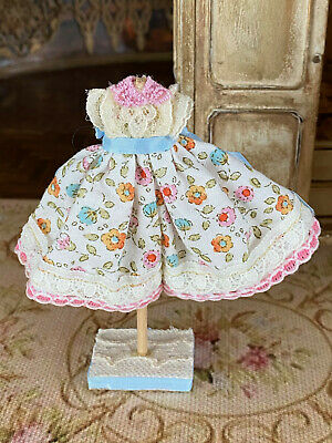 Vintage Miniature Dollhouse Artisan Little Girl's Cream Floral Dress on Stand