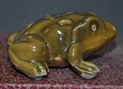 """3"""" Chinese Old Chinese porcelain Hand carved folk farmland protector frog statue"""